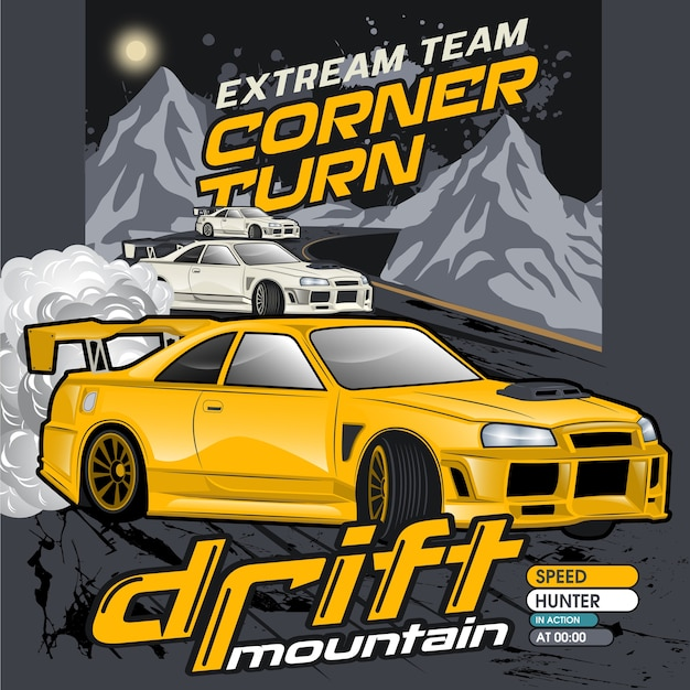 Mountain drift cars, vector car illustrations Vecteur Premium