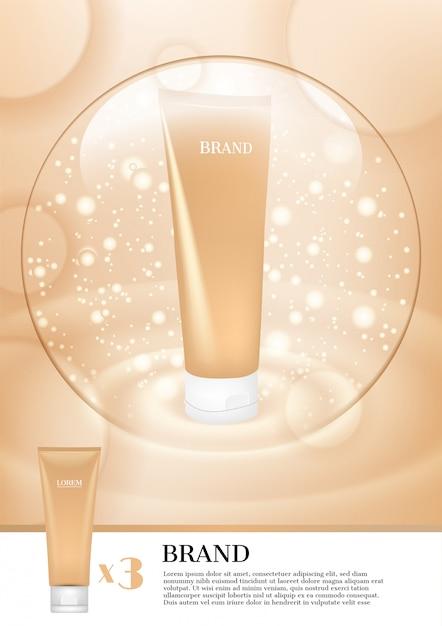Mousse faciale à bulles légères Vecteur Premium