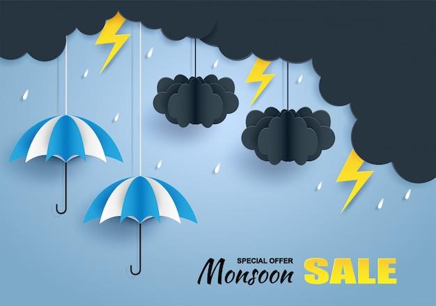 Mousson, bannière de vente saison des pluies Vecteur Premium