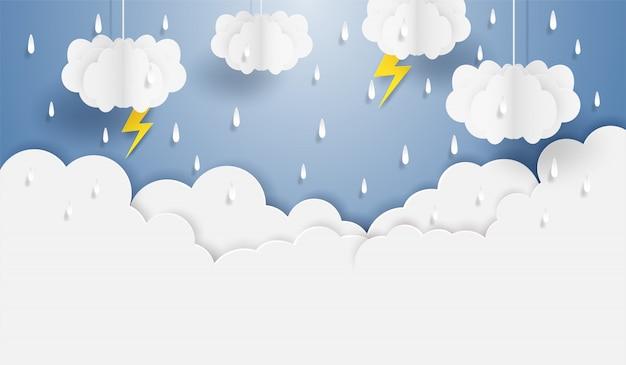 Mousson, saison des pluies. nuage pluie et foudre suspendu au ciel bleu. style d'art de papier. Vecteur Premium
