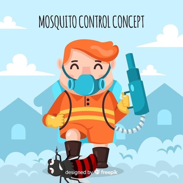 Moustique contrôle fond dessiné à la main Vecteur gratuit