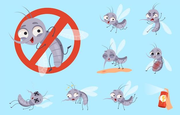 Moustique Dangereux. Bugs Et Avertissement Flyings Animaux Jeu De Dessin Animé D'aide Aux Moustiques. Vecteur Premium
