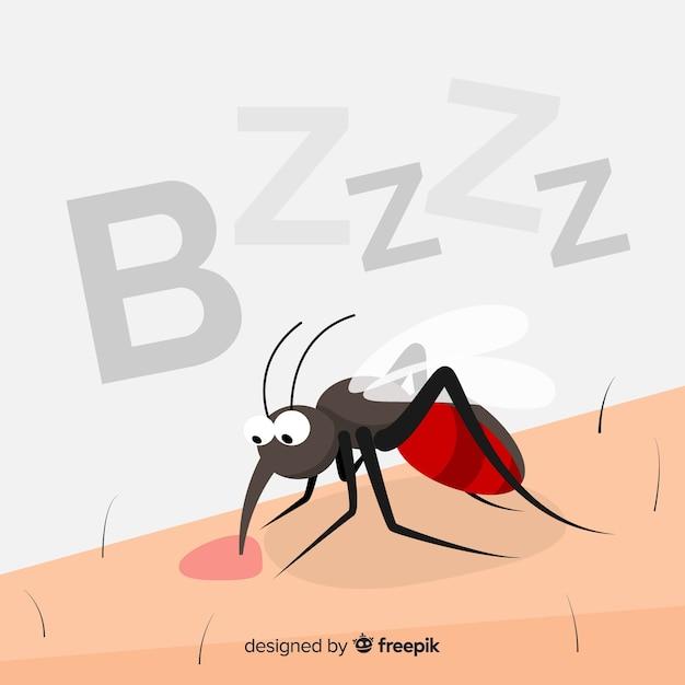 Moustique mordant une personne au design plat Vecteur gratuit