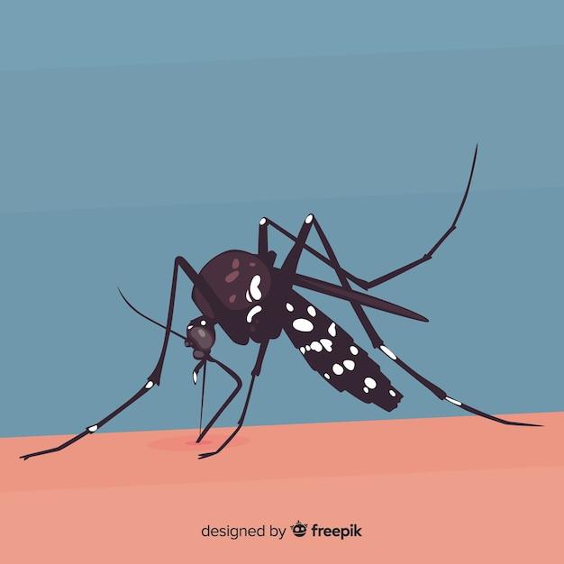 Moustique mordant une personne avec un design plat Vecteur gratuit