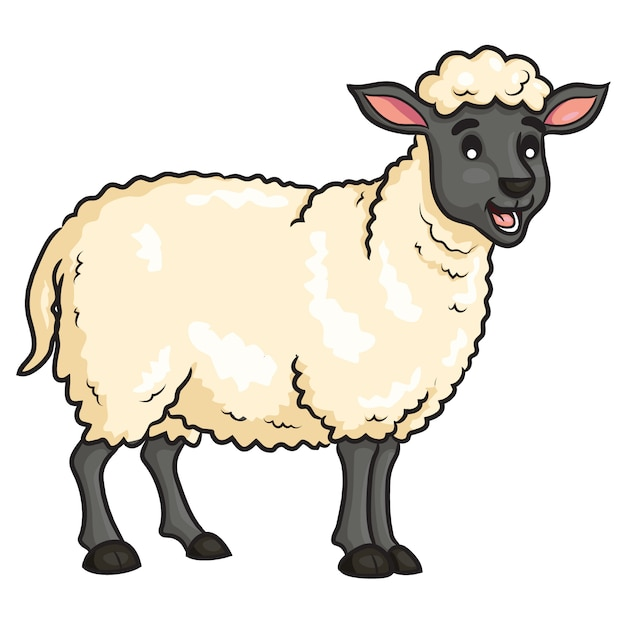 Mouton Mignon Dessin Animé Vecteur Premium