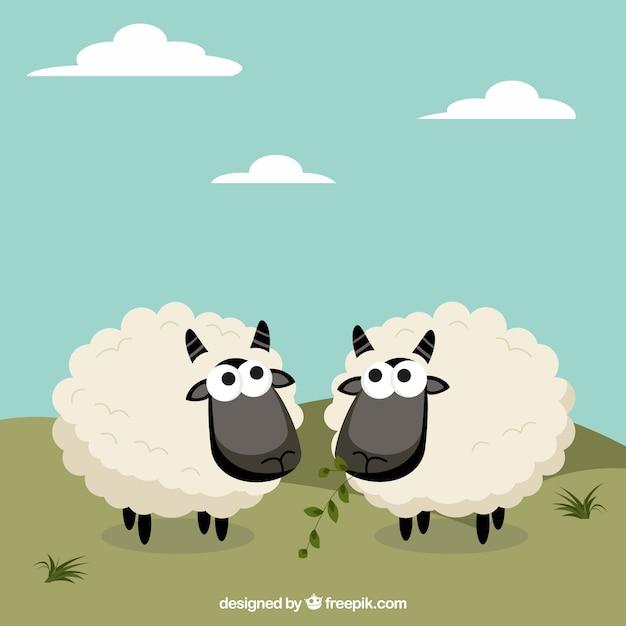 Moutons mignons dans un style de bande dessinée Vecteur gratuit