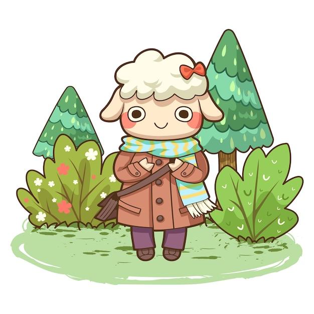Moutons Mignons Avec Illustration Vectorielle De Forêt Vecteur Premium