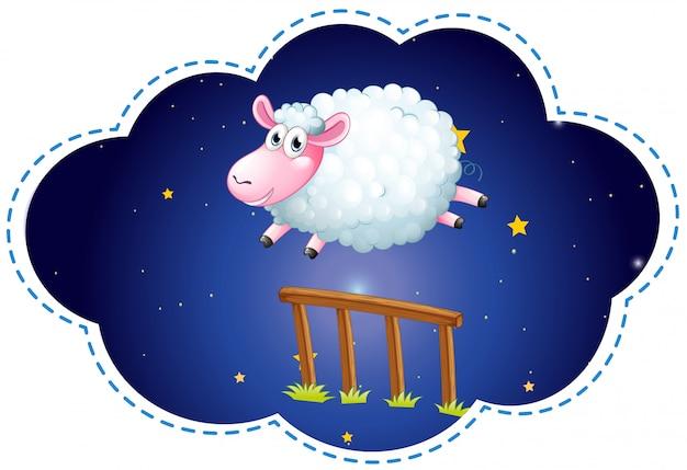 Moutons sautant par-dessus la clôture la nuit Vecteur gratuit