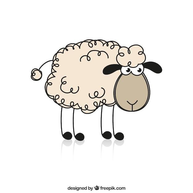 Moutons sketchy Vecteur gratuit