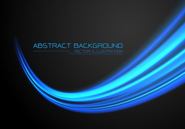 Mouvement de la courbe de vitesse rapide de lumière bleue sur fond noir. Vecteur Premium