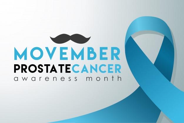 Movember bannière du mois de sensibilisation au cancer de la prostate Vecteur Premium