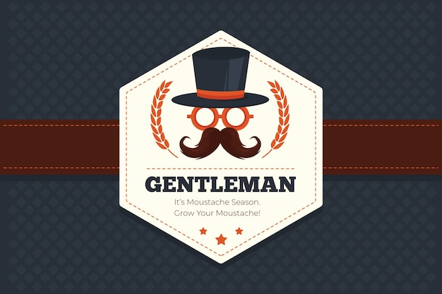 Movember fond géométrique avec l'insigne hexagonale Vecteur gratuit