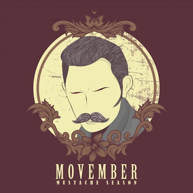 Movember hommes moustache Vecteur Premium