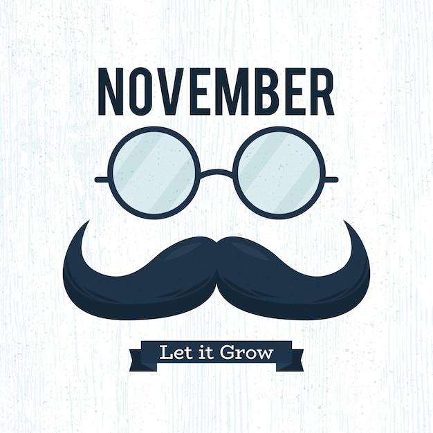 Movember plat laisse pousser la moustache Vecteur gratuit