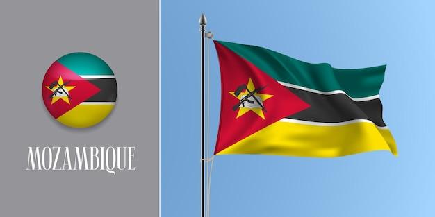 Mozambique, Agitant Le Drapeau Sur Le Mât Et L'icône Ronde. 3d Réaliste Du Drapeau Mozambicain Noir Rouge Et Bouton Cercle Vecteur Premium