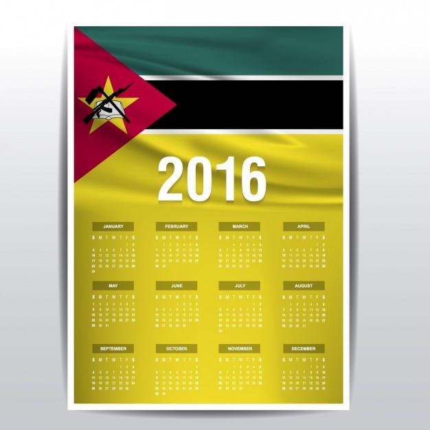 Mozambique Calendrier 2016 Vecteur gratuit