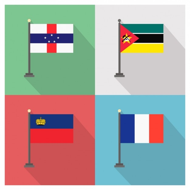 Mozambique Liechtenstein France Flags Vecteur gratuit