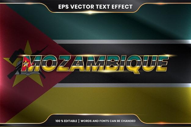 Mozambique Avec Son Drapeau Du Pays National, Effet De Texte Modifiable Avec Concept De Couleur Or Vecteur Premium