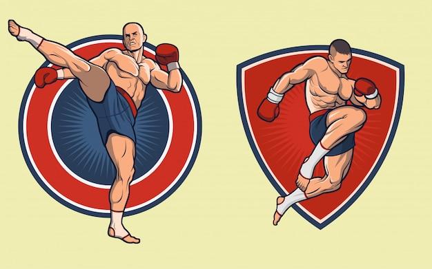 Muay thai fighter set. les gants Vecteur Premium