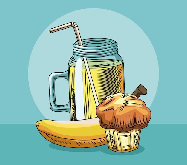 Muffin Aux Fruits Frais Banane Et Jus Vecteur Premium