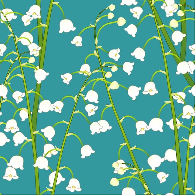Muguet blanc sur fond bleu sarcelle Vecteur Premium
