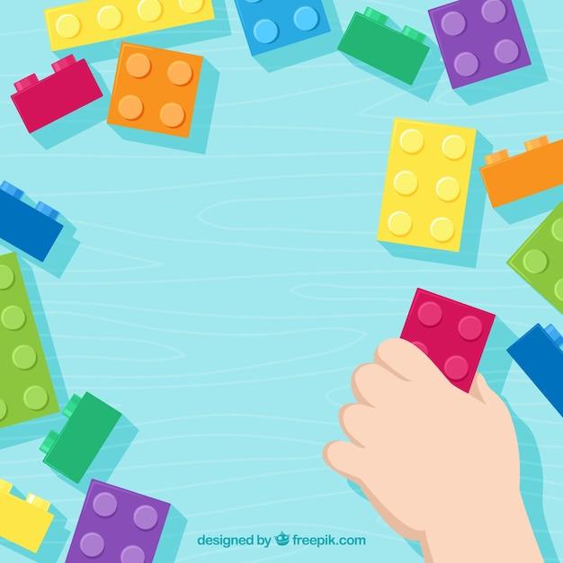 Multicolor briques frame background Vecteur gratuit