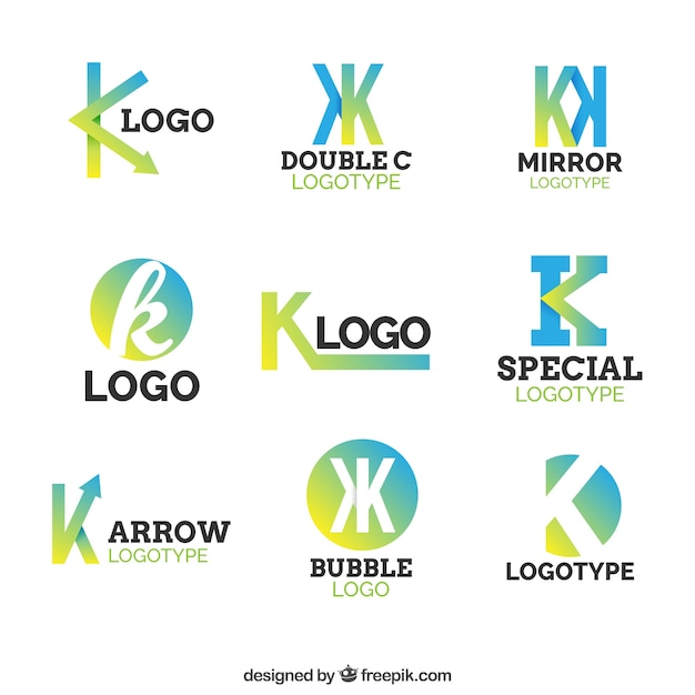Multicolor leter k logo collecti Vecteur gratuit