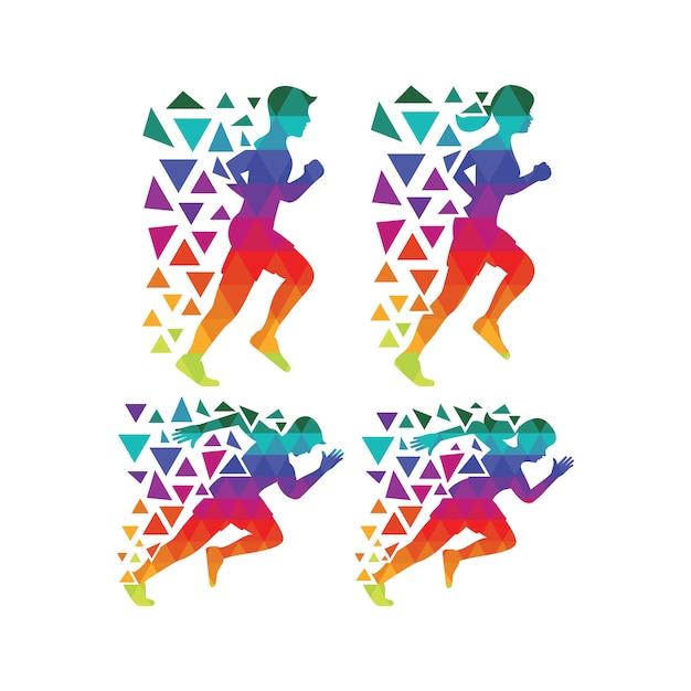Multicolor Running Silhouette Collection Vecteur gratuit