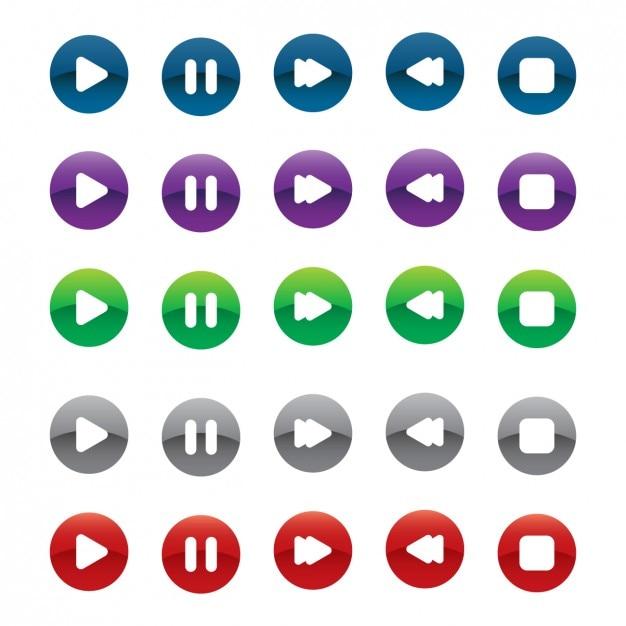 Multimédia Boutons D'option Vecteur gratuit