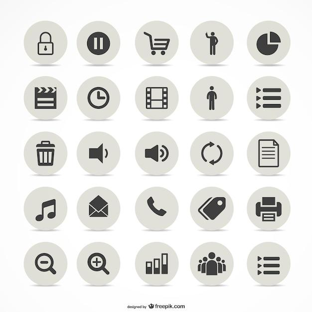 Multimédia icônes simples fixés Vecteur gratuit