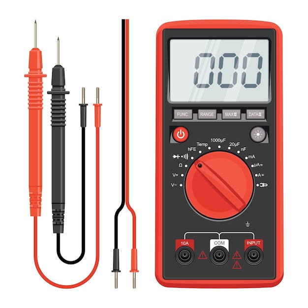 Multimètre électrique Ou électronique En Coque Silicone Rouge, Avec Sondes. Outils électriques D'électricien. Multimètre Et Prise. Vecteur Premium