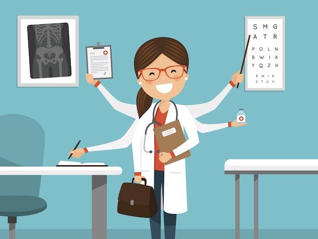 Multitâche occupé femme médecin souriant Vecteur Premium