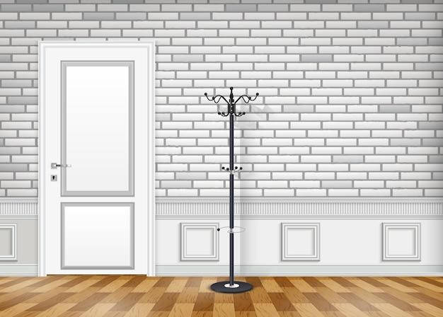 Mur De Briques Blanches Avec Une Porte Fermée Et Un Chapeau Et Un Cintre Vecteur Premium