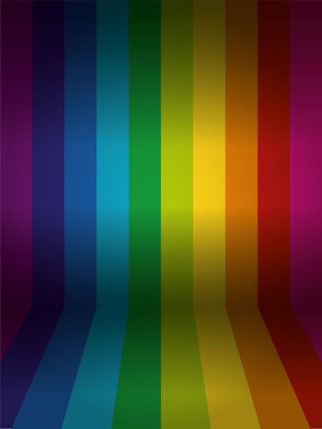 Mur de couleur arc-en-ciel de vecteur avec sol Vecteur Premium