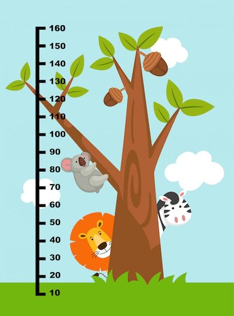 Mur mètre avec des animaux sauvages. illustration. Vecteur Premium