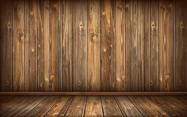Mur Et Sol En Bois Avec Surface Vieillie, Réaliste Vecteur gratuit
