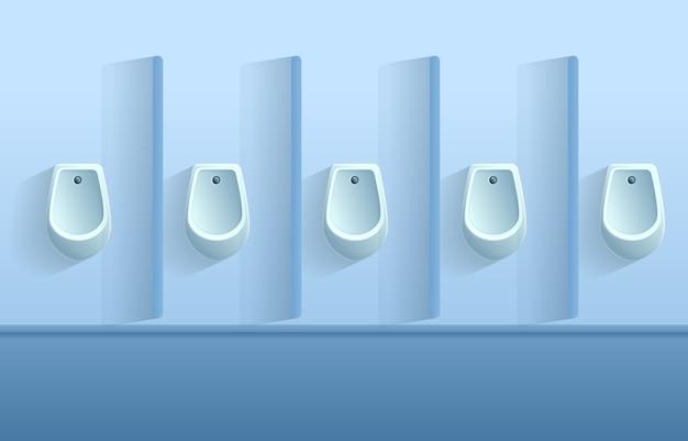 Mur De Toilettes De Dessin Animé Avec Des Urinoirs, Illustration Vecteur Premium