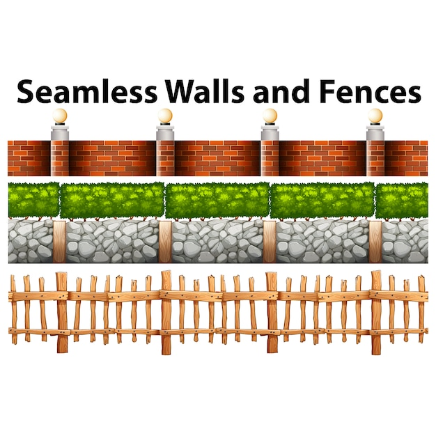 Les Murs Et Les Clôtures Collection Vecteur Premium