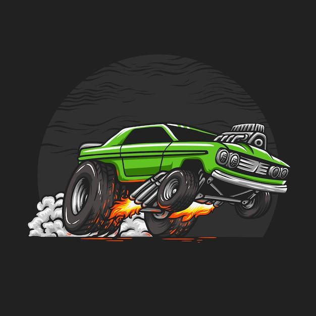 Muscle car dessiné à la main Vecteur Premium