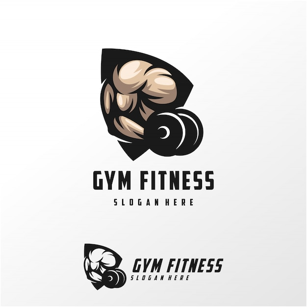 Muscle Logo Design Vector Illustration Modèle Vecteur Premium
