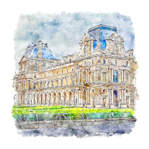 Musée Du Louvre Paris France Aquarelle Croquis Illustration Dessinée à La Main Vecteur Premium