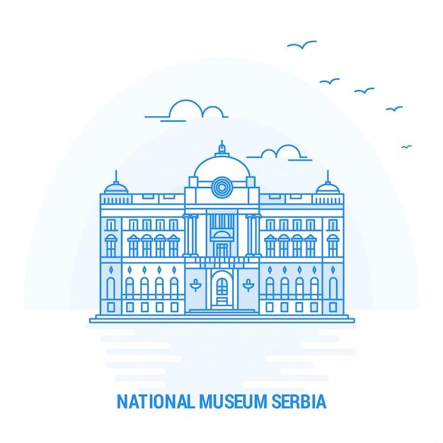 Musée national de la serbie blue landmark Vecteur Premium