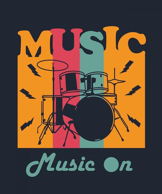 Music drum for t-shirt design Vecteur Premium