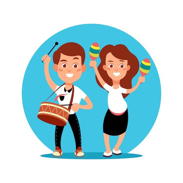 Musicien enfants faisant pefomance d'art. personnage de dessin animé garçon et fille avec instruments de musique Vecteur Premium