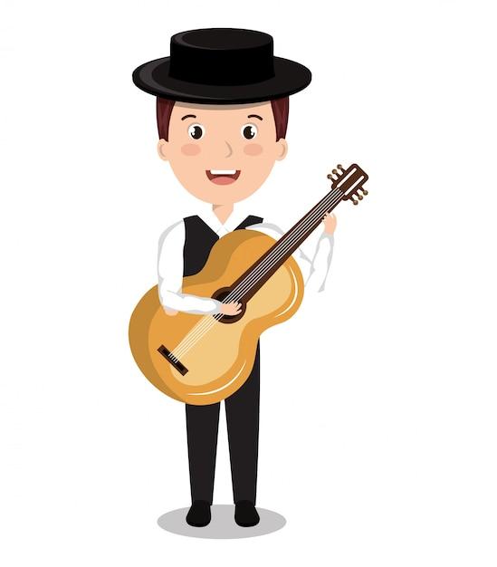 Musicien flamenco isolé conception d'icône Vecteur Premium