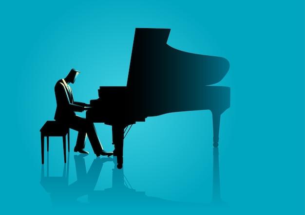 Musicien jouant du piano Vecteur Premium