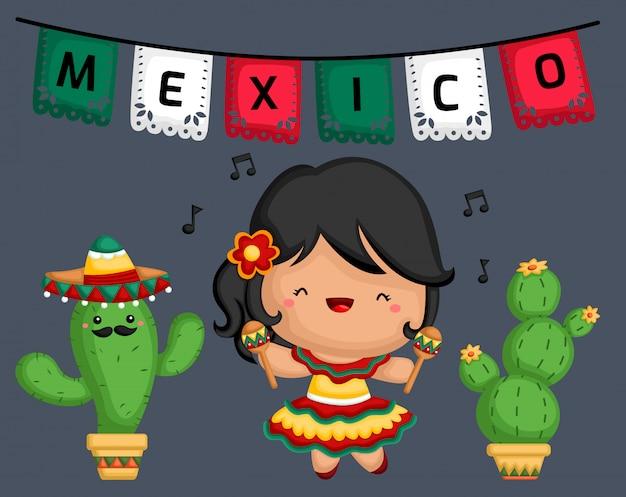 Musicien maracas mexicain Vecteur Premium
