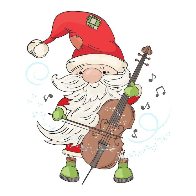 Musicien De Noël Cello Santa Vecteur Premium