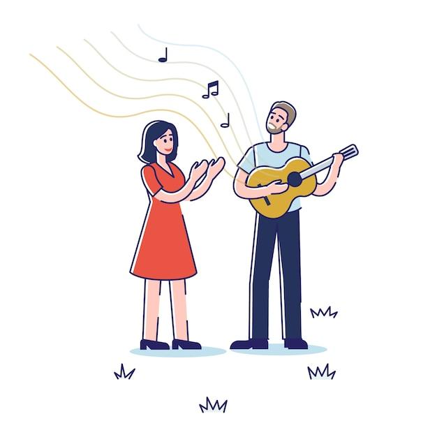 Musicien De Rue Chantant Et Jouant De La Guitare à L'extérieur Dans Le Parc. Vecteur Premium