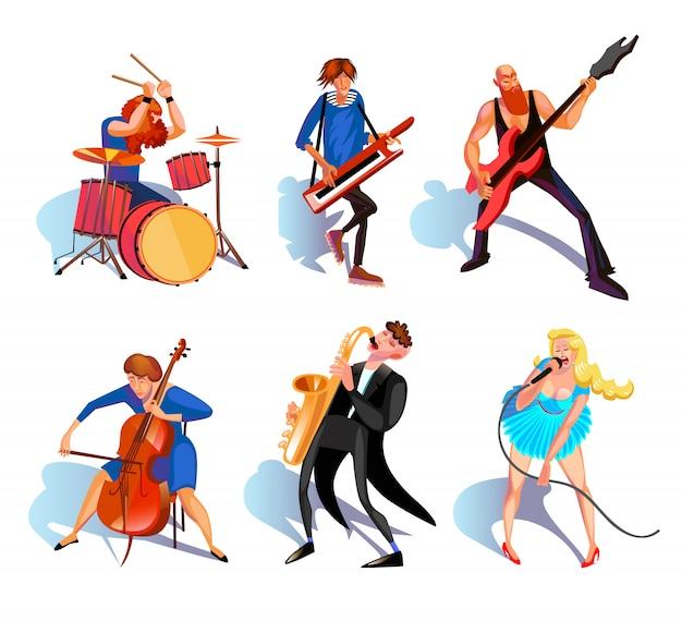 Musiciens cartoon set Vecteur gratuit